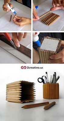 Pencil, pencil holder - a good way to recycle old pencils for use in the home office!