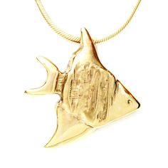 18K Gold Plated Angel Fish Pendant Necklace Artistically Unique Handcrafted 18 Inch L