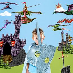 Flight of dragons wall sticker mural kit. awesome castles...& a knight riding a dragon? very cool. perfect for How to Train A Dragon fans!