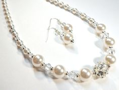 Jewelry Necklace, Earrings, White Pearl,Swarovski Austrian Crystal Pearls, Swarovski Rhinestone, Silver, FREE SHIPPING by SpiritCatDesigns on Etsy