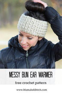Messy Bun Ear Warmer Crochet Pattern via @MamaInAStitch