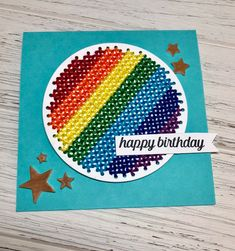 Happy Birthday card by Joy Ott for Paper Smooches - Stitched Circle Die, Stars Dies Stitching On Paper, Cross Stitching, Cross Stitch Embroidery, Cross Stitch Patterns, Embroidery Cards, Paper Smooches, Cross Stitch Cards, Card Patterns, Happy Birthday Cards
