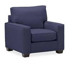 PB Square Upholstered Armchair, Polyester Wrapped Cushions, Organic Cotton Twill Navy