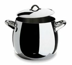 """Alessi Mami Stockpots Mami Stockpot With Handles Nat 10.5 Qt. 9.5"""" by Alessi. $190.00. The handles are very securely fixed and are very comfortable to use. The thermal base on the Alessi Mami pans is en extra thick layer of aluminium encapsulated in a stainless steel cover. Thse bases are especially efficient at distributing heat evenly across the pan. Alessi Mami pans are made from heavy guage best quality stainless steel. The stainless steel pans in the range of Alessi Mami pan..."""