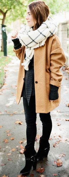Cheetah Is The New Black Checkered Scarf On Camel Coat Fall Street Style Inspo
