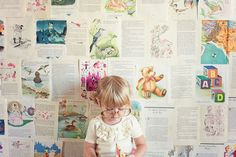 photograph kids in front of book pages - so cute