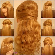DIY Half up Half down Hairstyle for Face Slimming DIY Half up Half down Frisur zum Abnehmen Easy Hairstyles For Medium Hair, Crown Hairstyles, Elegant Hairstyles, Pretty Hairstyles, Medium Hair Styles, Braided Hairstyles, Curly Hair Styles, Hairstyles Videos, Half Up Half Down Hair