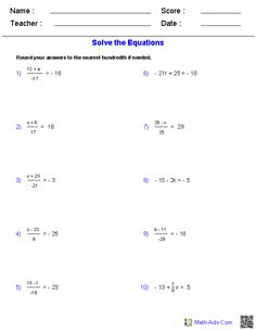Two Step Equation Word Problems Worksheets   Math-Aids.Com ...