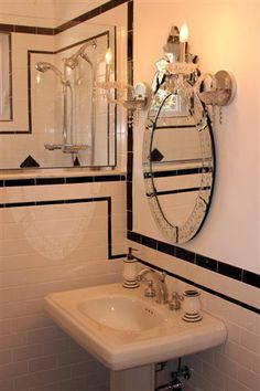 Traditional Historic Black and white bathroom with flair CenterBeam Construction Jacksonville, Florida www.centerbeamconstruction.com