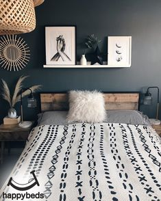 Who would have thought industrial style could be so chic? The edgy Happy Beds Urban Rustic bed looks like it would be right at home in the converted New York apartment of your dreams. With a wood-effect finish, bold black lines and a supportive slatted ba Room Ideas Bedroom, Bedroom Colors, Home Decor Bedroom, Bedroom Wall, Nordic Bedroom, Decor Room, Design Bedroom, Bedroom Sets, Girls Bedroom