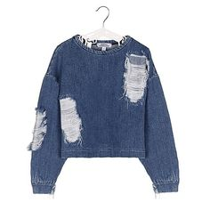 Distressed top made from soft denim 💘