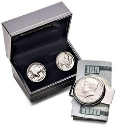 """Cyber Monday Gift Idea for the coin collector: """"Liberty Bundle"""" from the @The New York Times includes Buffalo Nickel cuff links and a Kennedy Half-dollar money clip"""