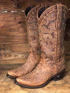 Lane Boots Women's Robin Dark Brown Floral Overlay Snip Toe Western Boot LB0237H