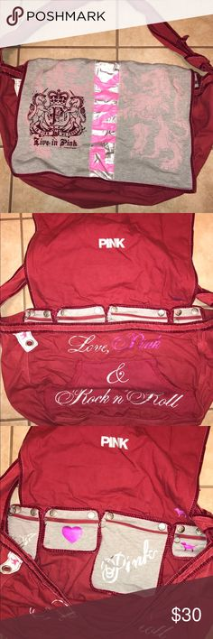 Victoria Secret Pink His bag is large enough to use as an overnight bag but also good for everyday use at school or with kids. Has cute zipper pocket on the inside that can be removed. While taking pics I noticed a small dirty spot on the strap. I'm sure it can be removed. PINK Victoria's Secret Bags Shoulder Bags
