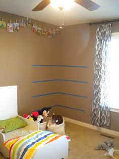 Wall Paint Color: SW 6109 Hopsack Well, they are sort of new:). We actually installed them in November, but I neve. Rain Gutter Shelves, Gutter Bookshelf, Corner Bookshelves, Book Shelves, Bookcases, Playroom Organization, Home Organization Hacks, Organizing, Playroom Ideas