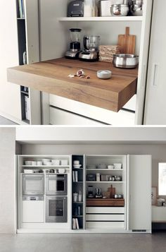 Kitchen Design Idea – Pull-Out Counters Kitchen Design Idea – Pull-Out Counters Pictures) // Pull-out counters are great for creating more space in a compact kitchen that can be closed up completely when it isn't being used. Hidden Kitchen, Kitchen Pantry, New Kitchen, Kitchen Storage, Kitchen Decor, Kitchen Counters, Kitchen Organization, Kitchen Worktop, Korean Kitchen