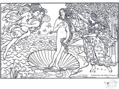 coloring-adult-boticelli-the-birth-of-venus_jpg in Art | Coloring Pages for adults