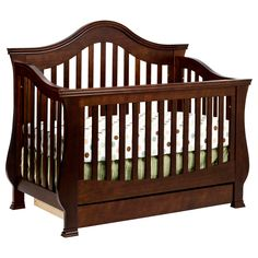 The Ashbury crib is designed for grandeur and luxury, with an arched back panel and thick slats that provide baby with a throne fit for royalty. Winged corners and curved posts complete this lavish crib.