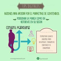 #TipsDigitales Razones para apostar por el marketing de contenidos. Posicionar la marca como un referente en su sector: demostrar lo que sabemos para transmitir confianza al consumidor  Fuente: PuroMarketing  #MarketingDigital #SocialMedia