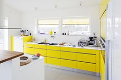 Image result for yellow and white kitchen designs