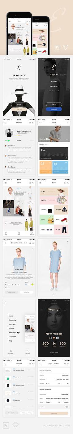服装类app参考Elegance iOS UI Kit Free
