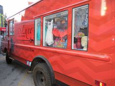 JD Luxe fashion truck -outside.  JD Luxe  sells playful, modern designs by upcoming designers.