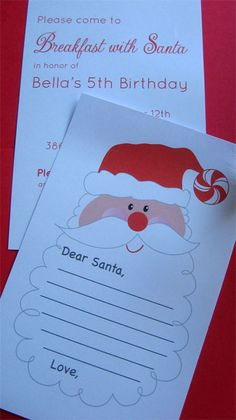 Children's Christmas party:  Breakfast with Santa.  Wear PJs and write letter to Santa.  Printable available on this site.