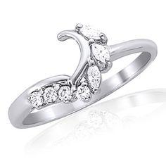 10k Solid White Gold Diamond Wrap Style Soltiare Enhancer Ring Guard 1/5 Carat #gemdepot #WithDiamond #BlackFridaysDeals