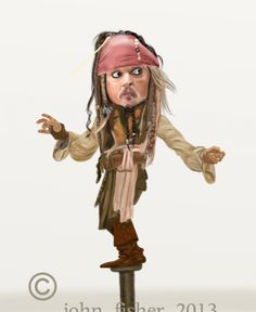 """Johnny Depp (Captain Jack Sparrow) - """"Pirates of the Caribbean"""" Captian Jack Sparrow, Captain Jack, Funny Caricatures, Celebrity Caricatures, Fisher, Drawing Stars, Caricature Drawing, Cartoon Pics, Cool Cartoons"""