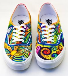 colorful, psychedelic custom Vans | Custom Shoes | Pinterest ...