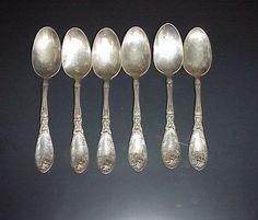 Antique Rogers 1881 Silver Plated Teaspoons La Vigne Pat. 1908 Grapes Set 6 #1881Rogers