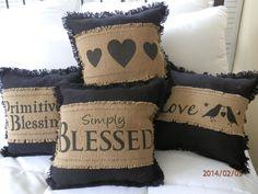 Black Burlap Primitive Pillows Group of 4
