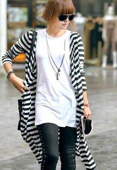 Stylish Black and White Cardigan Coat