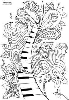 Best Coloring: Free printable music coloring pages - Amazing Coloring sheets - Coloring Book Pages, Printable Coloring Pages, Coloring Sheets, Mandalas Drawing, Doodle Coloring, Zentangle Patterns, Zentangles, Doodle Art, Colored Pencils