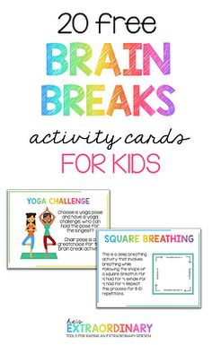 Brain Breaks for Kids - The benefits of brain breaks for elementary aged children at home and school - plus 20 printable activity cards with brain break activities on them. Print and laminate and keep them on hand. Mindfulness For Kids, Mindfulness Activities, Brain Activities, Therapy Activities, Movement Activities, Mindfullness Activities For Kids, Kids Printable Activities, Elderly Activities, Music Activities