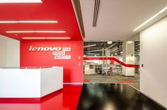 Mexico - Lenovo: This 2014 renovation project for the Guadalajara team at Lenovo, was carried out by Contract Workplaces, which designed a fantastic new space. It's a working environment that breathes class and high quality, and the design and colour scheme smartly emphasises for visitors and clients the insistence on quality in the company's ethos.