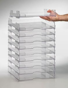 Display Dynamics - Perfect Paper Stackable Paper Trays - 12x12 - Lipped - 10 Pack at Scrapbook.com $59.99