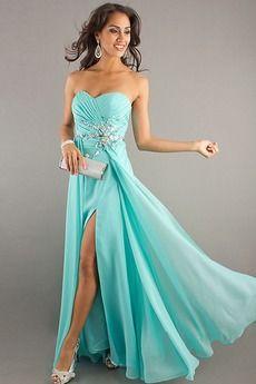 Robe de bal bleu turquoise