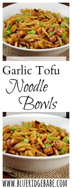 Asian Garlic tofu noodle bowls