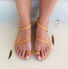 womens leather sandals Greek leather sandals by GreekSandalShop Greek Sandals, Gold Sandals, Leather Sandals, Feet Soles, Designer Sandals, Summer Shoes, Black Heels, Elegant, My Style