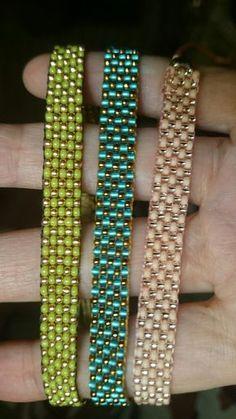 Loom beaded bracelet with waxed cord or other por Suusjabeads