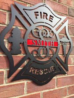 Maltese Cross Firefighter Monogrammed Door by HouseSensationsArt