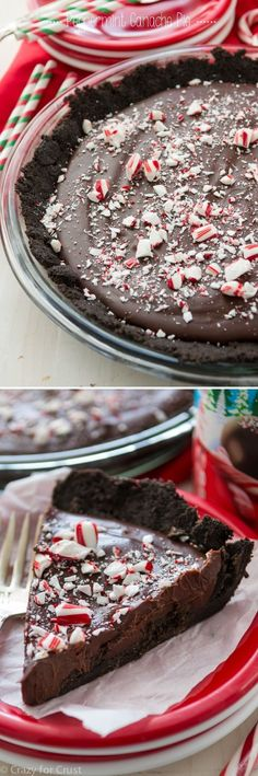 Peppermint Ganache Pie with an Oreo Crust and filled with chocolate ganache that's been flavored with peppermint!