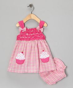 Take a look at this Pink Cupcake Dress & Diaper Cover - Infant by Youngland on #zulily today!