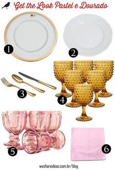 get the look mesa posta em tons pastel e dourado.