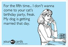 Funny Cry for Help Ecard: For the fifth time... I don't wanna come to your cat's birthday party, freak. My dog is getting married that day.