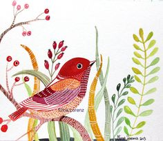 Red BirdBird Art Painting Floral Berries by sublimecolors on Etsy