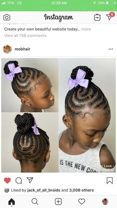 Trendy braids for kids inspiration 35 Ideas : Trendy braids for kids inspiration 35 Ideas Kids Cornrow Hairstyles, Lil Girl Hairstyles, Cute Hairstyles For Kids, Girls Natural Hairstyles, Toddler Braids, Braids For Kids, Girls Braids, Toddler Hair, Braids For Black Kids