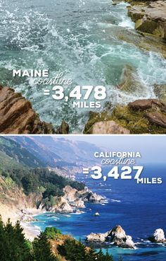 Maine's shoreline is 3,478 miles. California's is 3,427. In the continental U.S., only Florida and Louisiana are longer. Who knew?