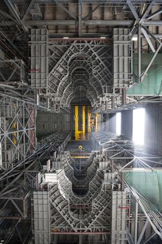 The view looking up from the floor of the Vehicle Assembly Building (VAB) at NASA's Kennedy Space Center in Florida.